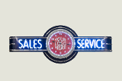 SALES & SERVICE NEON CLOCK SIGN  - BLUE w/ CUSTOM LOGO