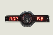 PILOT'S PUB NEON CLOCK SIGN - Altimeter