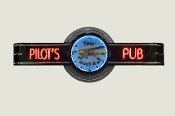 PILOT'S PUB NEON CLOCK SIGN - Custom Clock