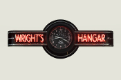 YOUR NAME HANGAR NEON CLOCK SIGN - Altimeter