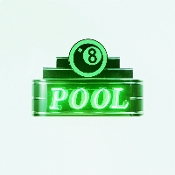 "34PO-BLK-8BL - 34"" POOL NEON SIGN"