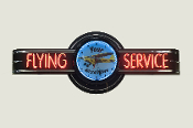 FLYING SERVICE NEON CLOCK SIGN - CUSTOM LOGO