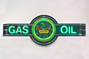 MOBIL GAS & OIL NEON CLOCK SIGN
