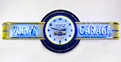 ZORA'S GARAGE NEON CLOCK SIGN