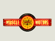 MUSCLE MOTORS NEON CLOCK SIGN - Red w/ Vintage Mopar Clock