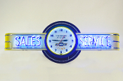 SALES & SERVICE NEON CLOCK SIGN  - CHEVY TIME