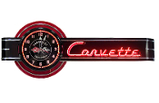 CORVETTE SALES & SERVICE NEON CLOCK SIGN